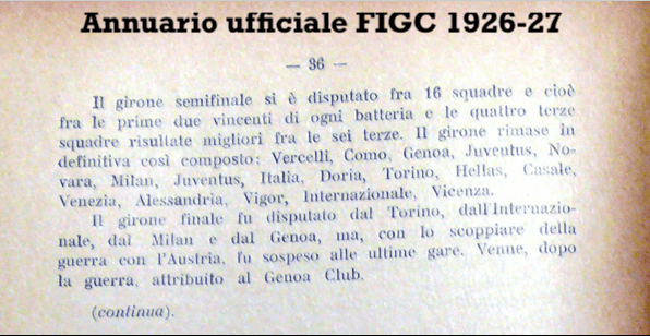 FIGC Official Yearbook of 1926/1927, Source- LazioStory.it