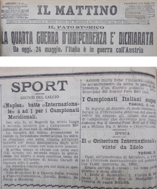'Il Mattino':May24th-25th, 1915, Source- LazioStory.it