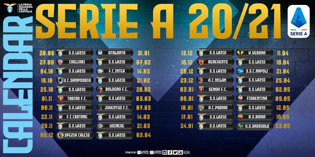 Lazio's 2020/21 Serie A Calendar, Source- Official S.S. Lazio