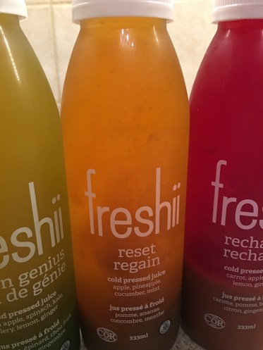 photo of freshii juice bottles