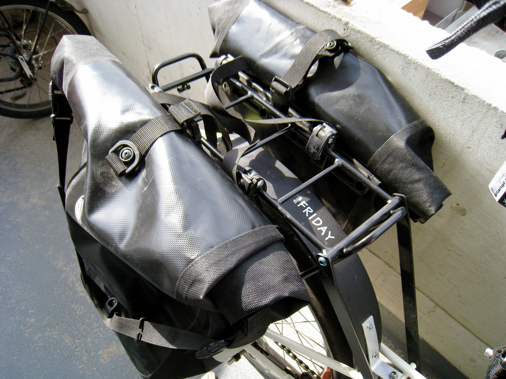 Ortieb panniers on my Bike Friday rear rack.