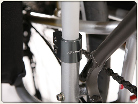 Watchamacollars securing V-racks to an Xtracycle