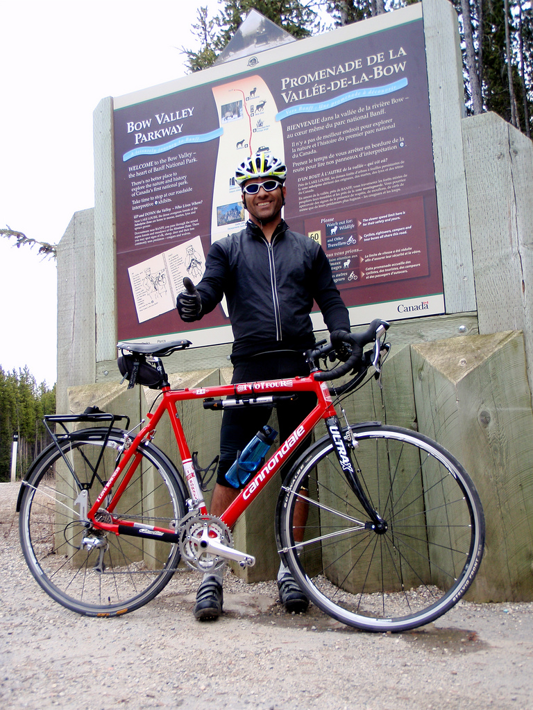 Riding the Bow Valley Parkway on my BBC 2-4 Cross Bike