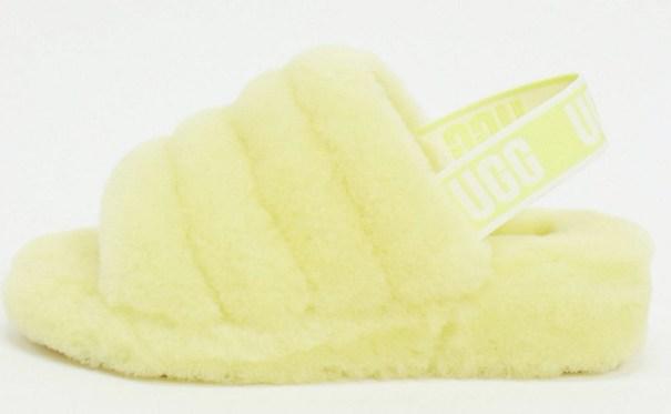 UGG Flufyf Neon Yellow Slippers