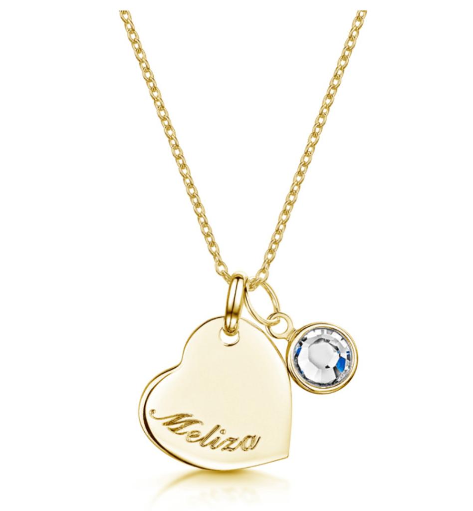 Swarovski Birthstone Heart Necklace Engravers Guild