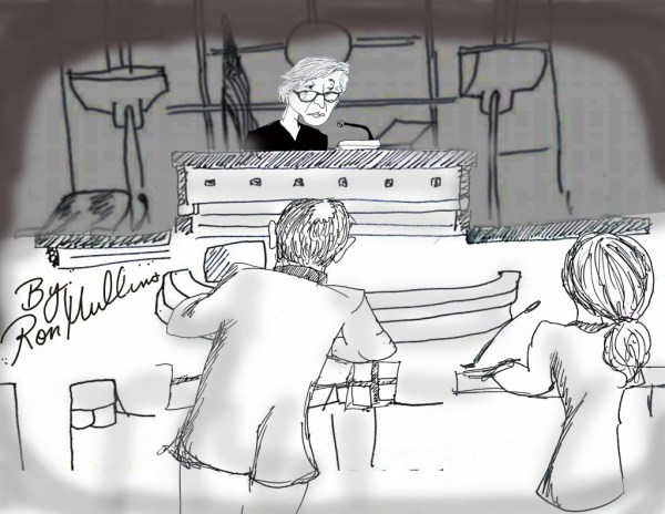 US Attorney Greg Broderick and defense attorney Zenia Gilg argue in front of Judge Kimberly Mueller. Drawing by Ron Mullins of Sacramento NORML.