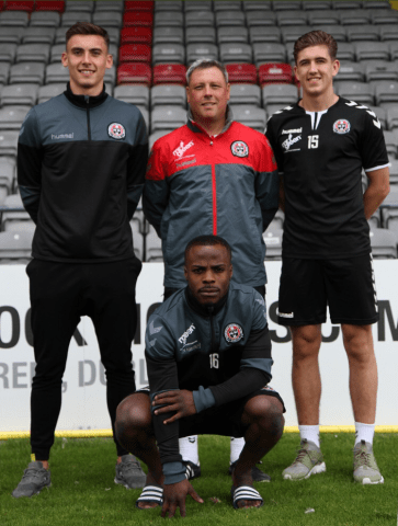 Bohemians manager Keith Long and players Oscar Brennan, Fuad Sule and Warren O'Hora