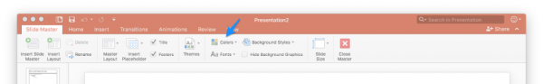 Select colors in the Slide Master section