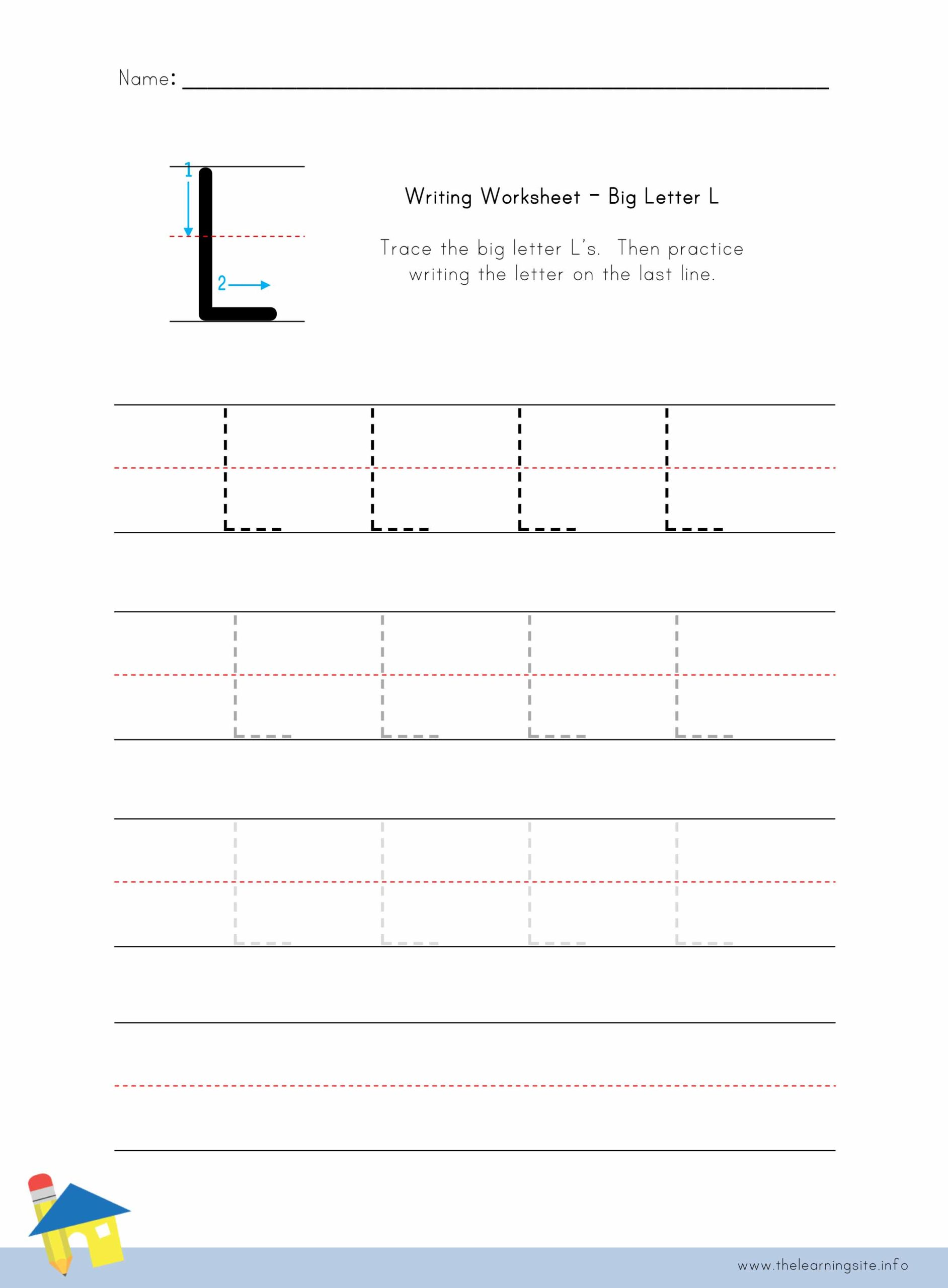 Big Letter L Writing Worksheet The Learning Site