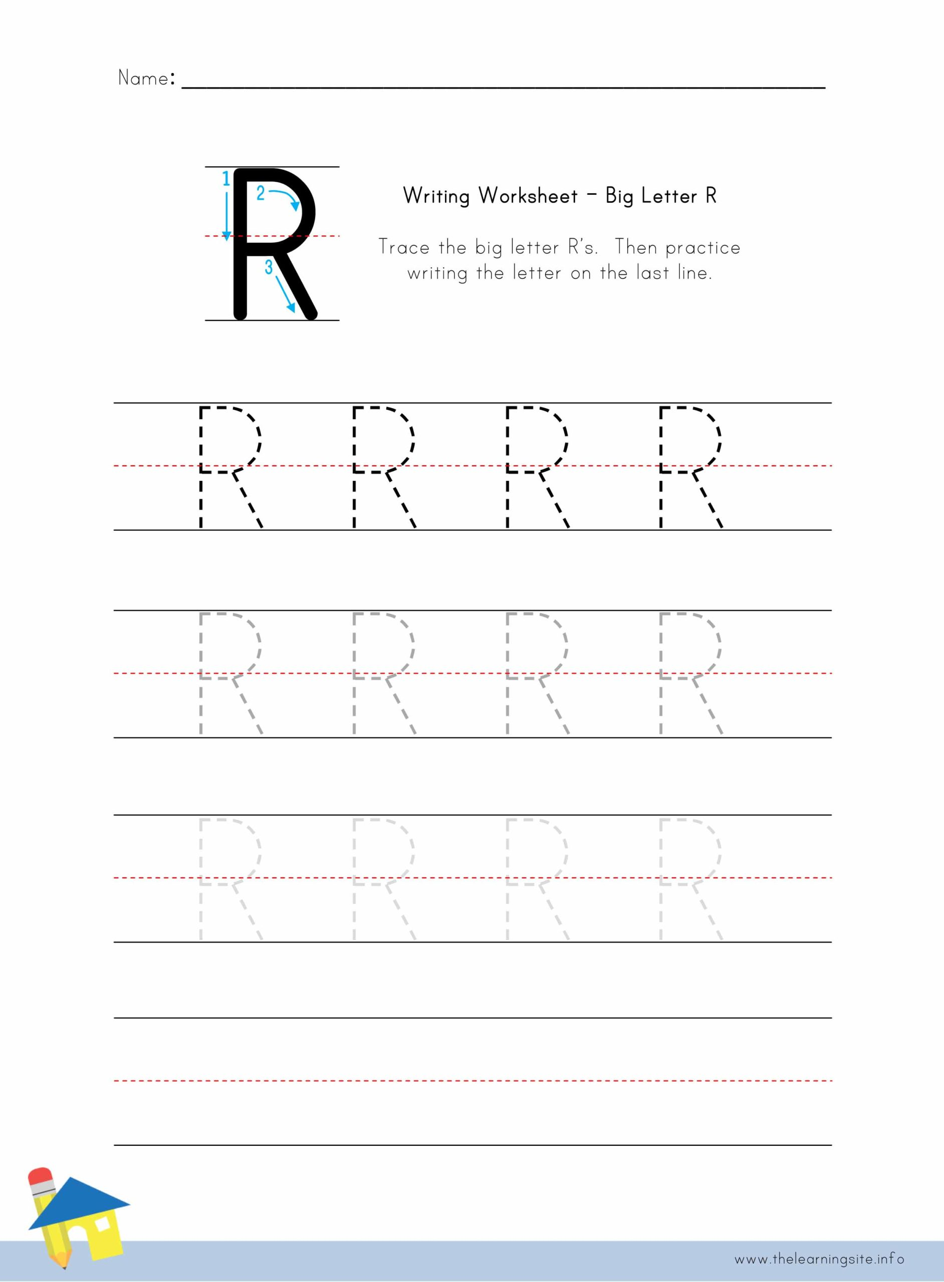 Big Letter R Writing Worksheet The Learning Site