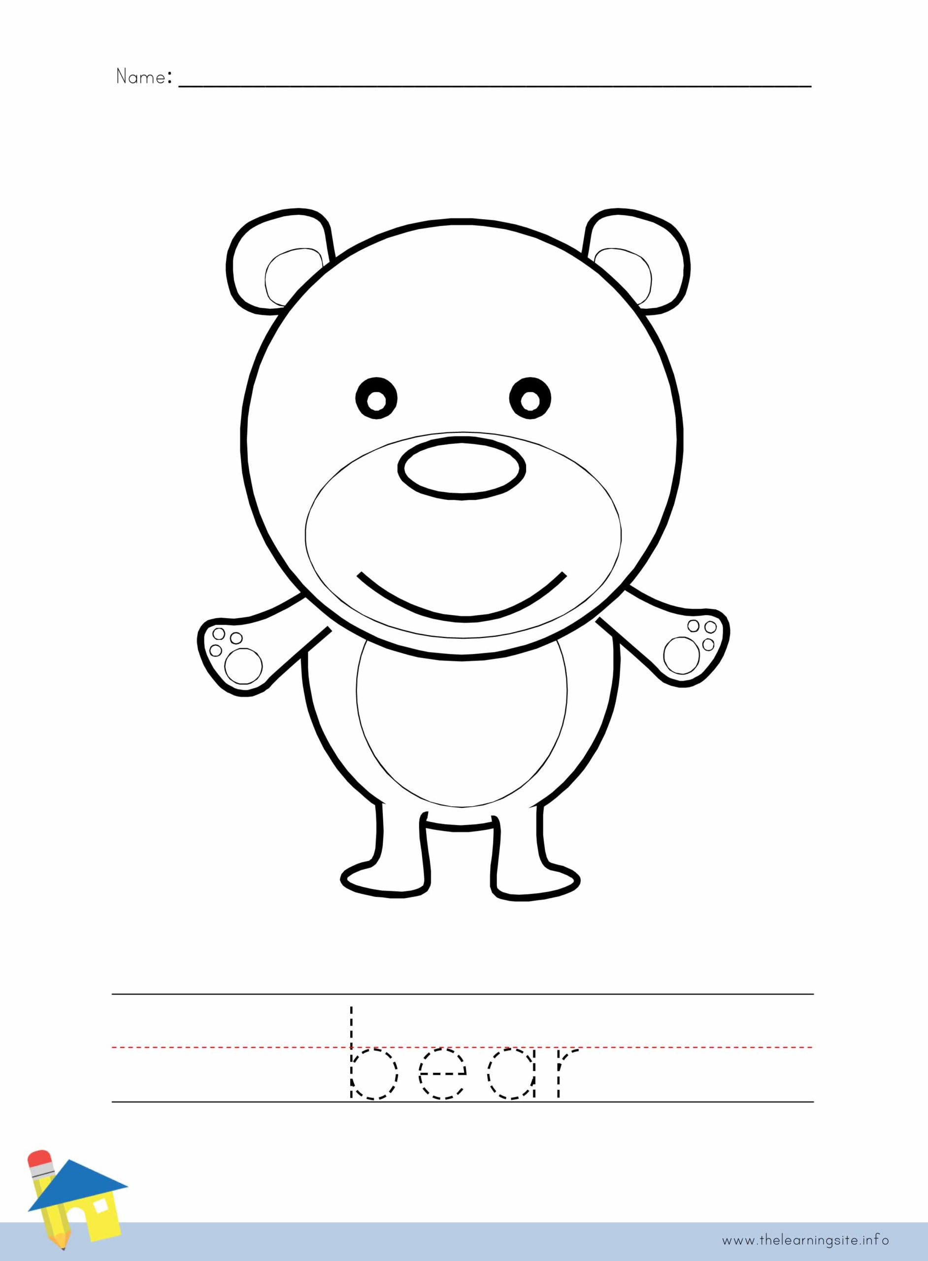 Bear Coloring Worksheet The Learning Site