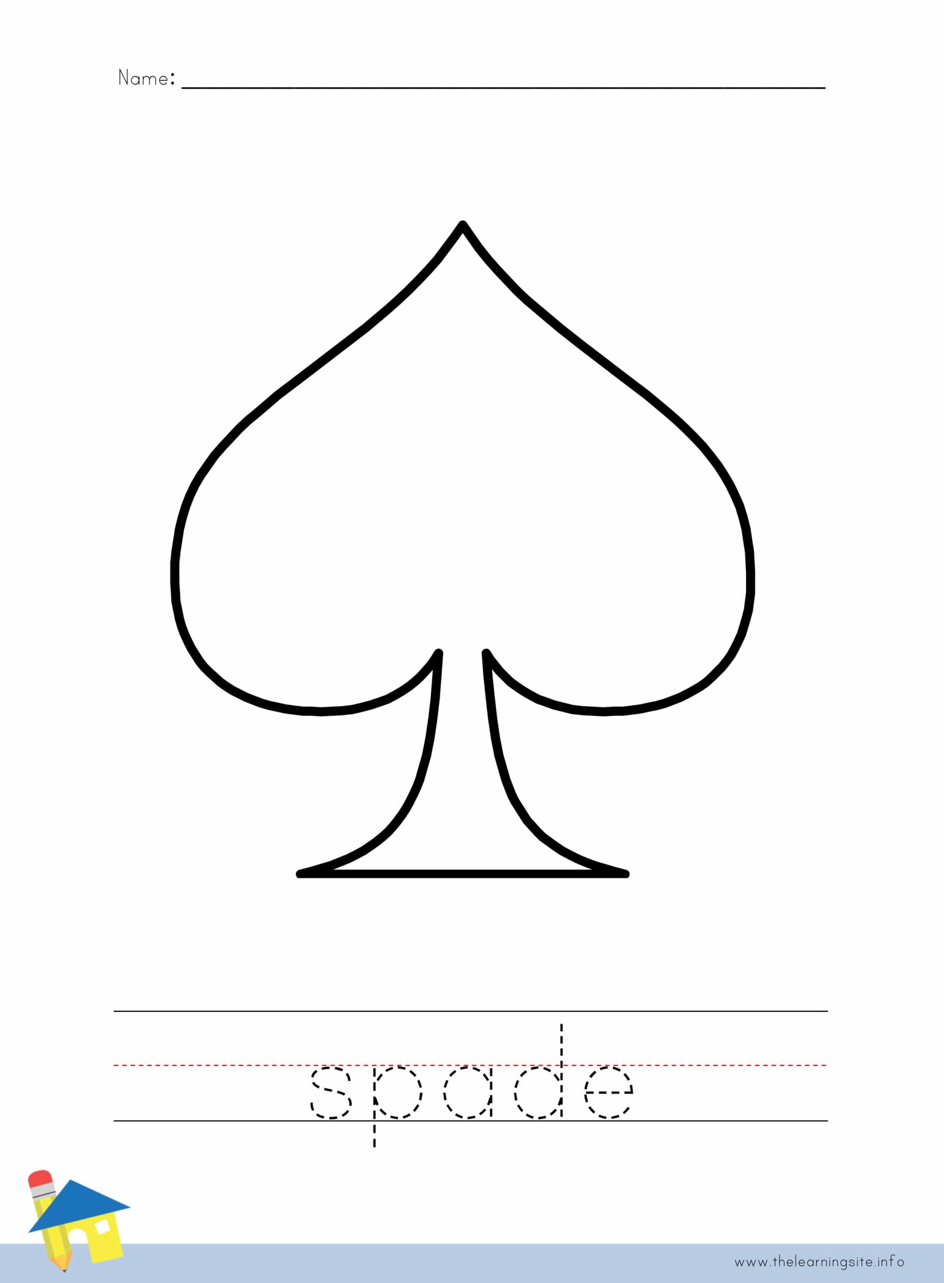 Spade Coloring Worksheet The Learning Site