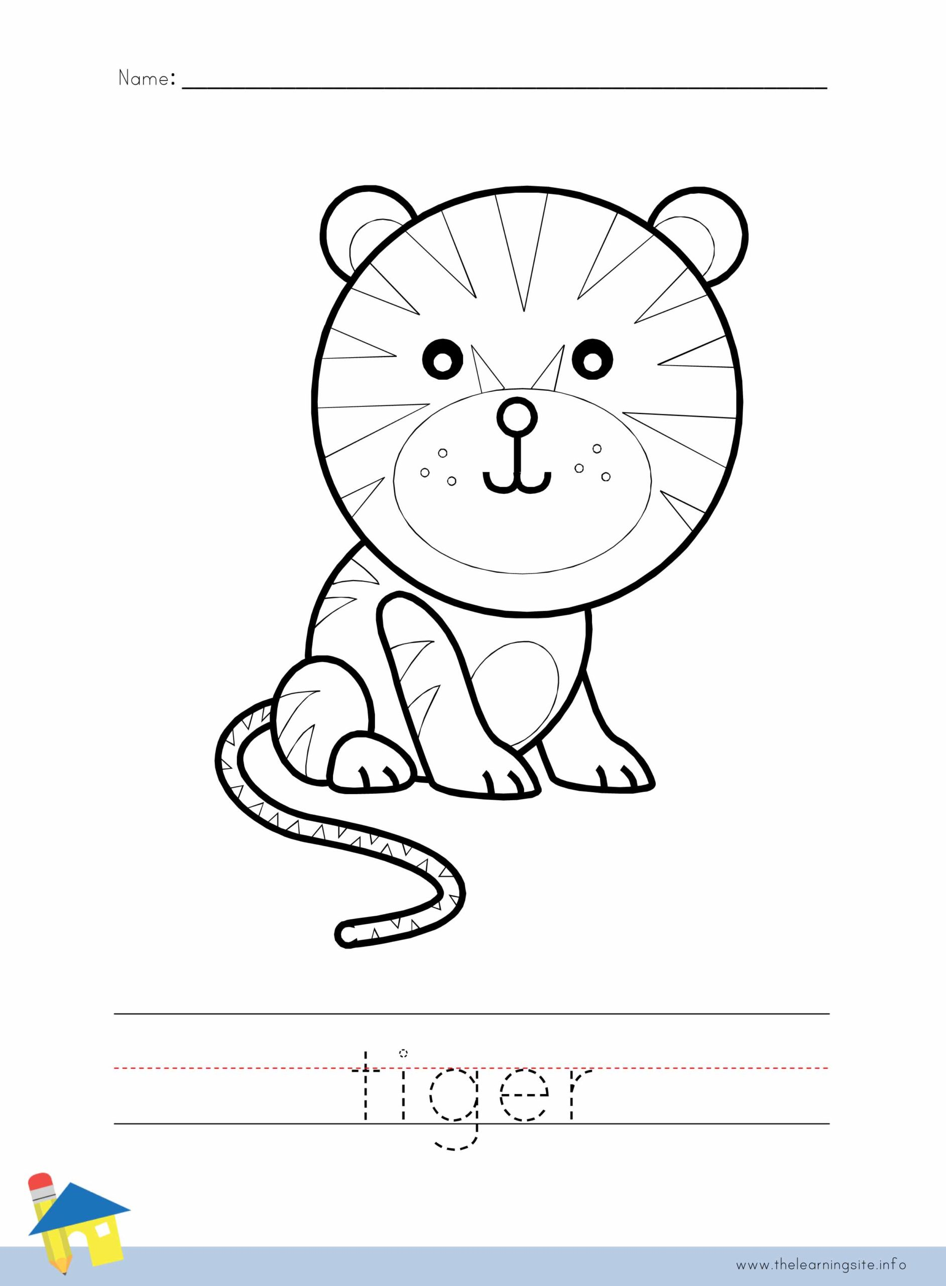 Tiger Coloring Worksheet The Learning Site