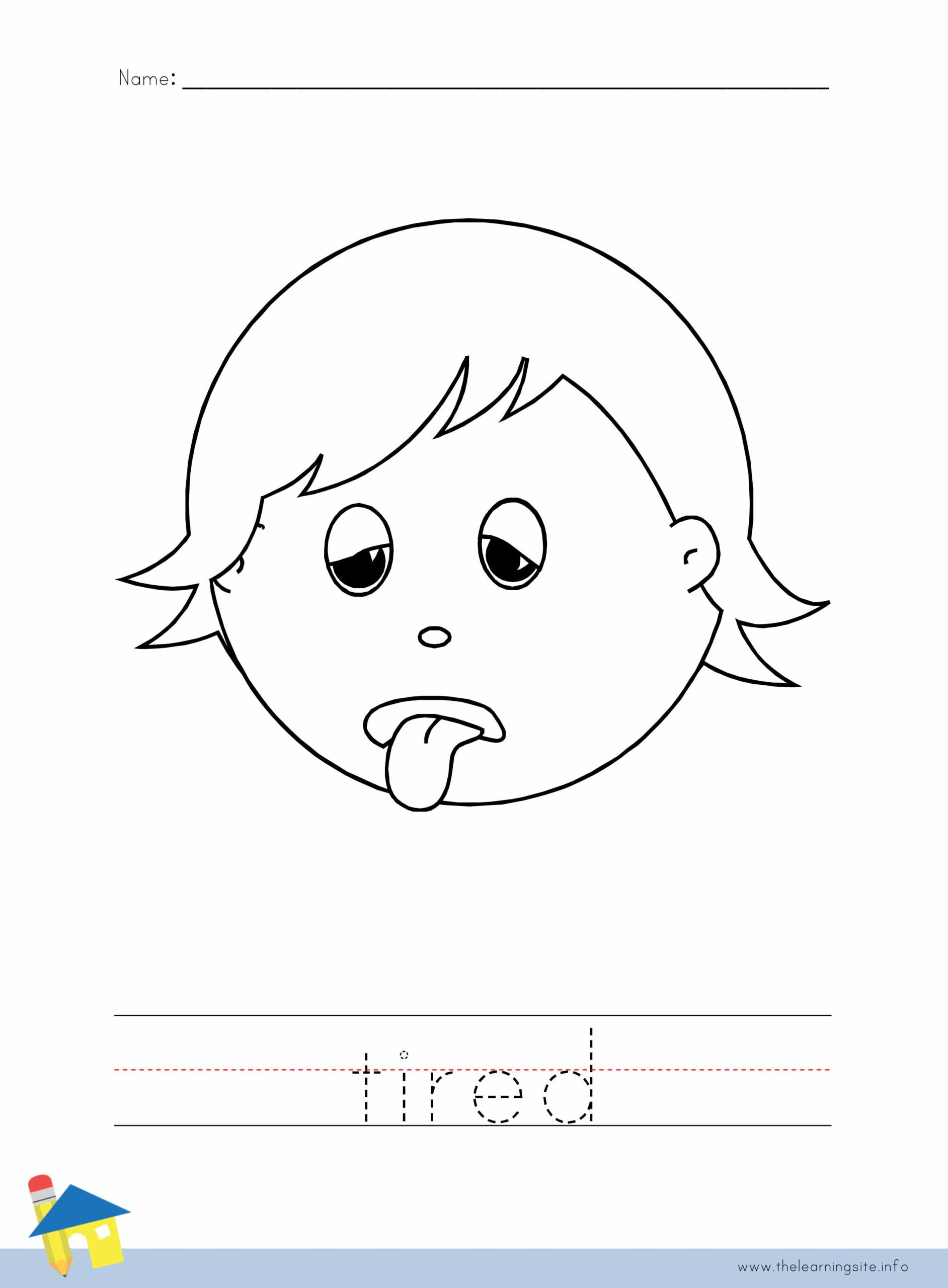 Tired Coloring Worksheet The Learning Site