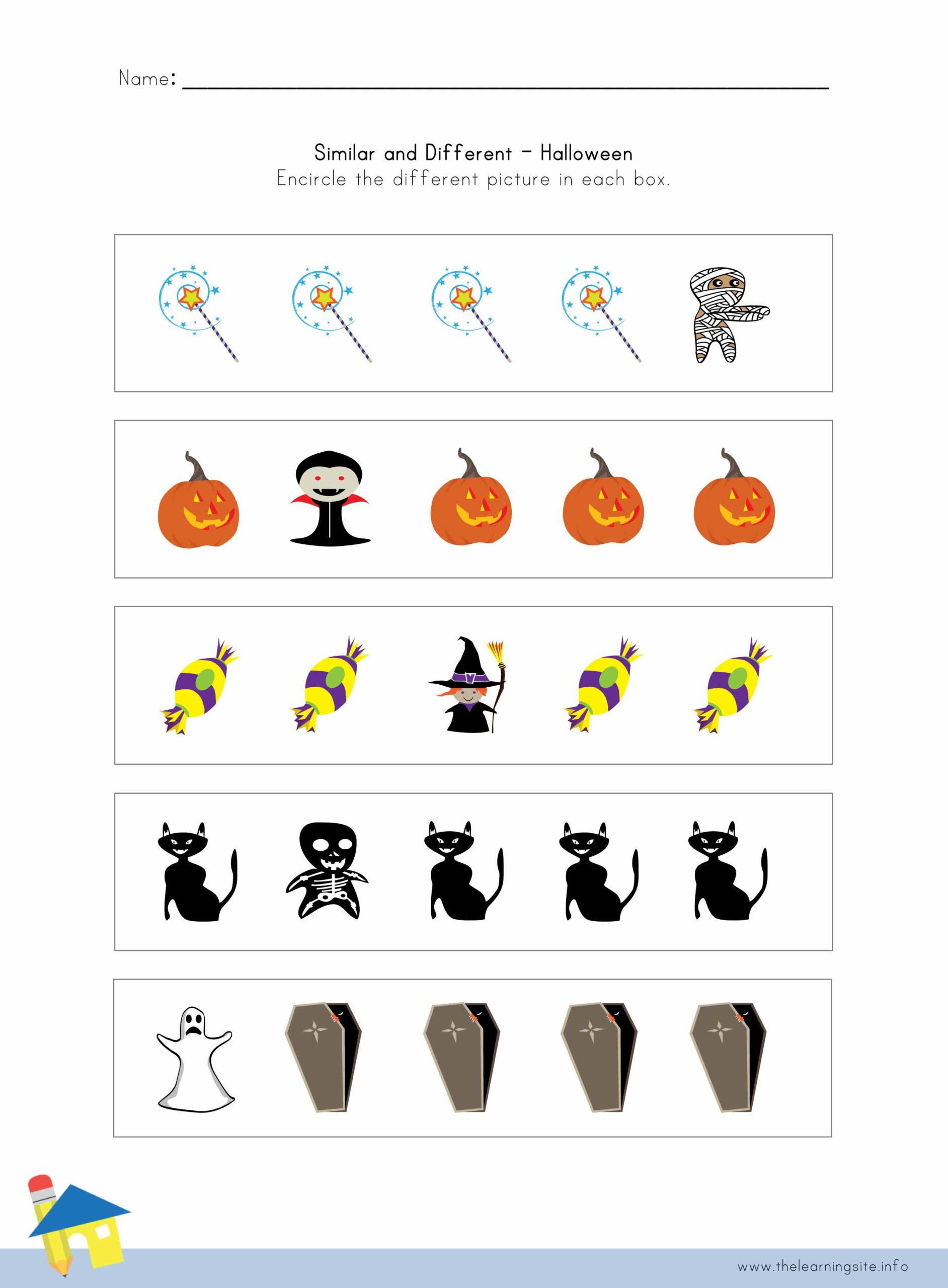 Halloween Similar And Different Worksheet 1 The Learning
