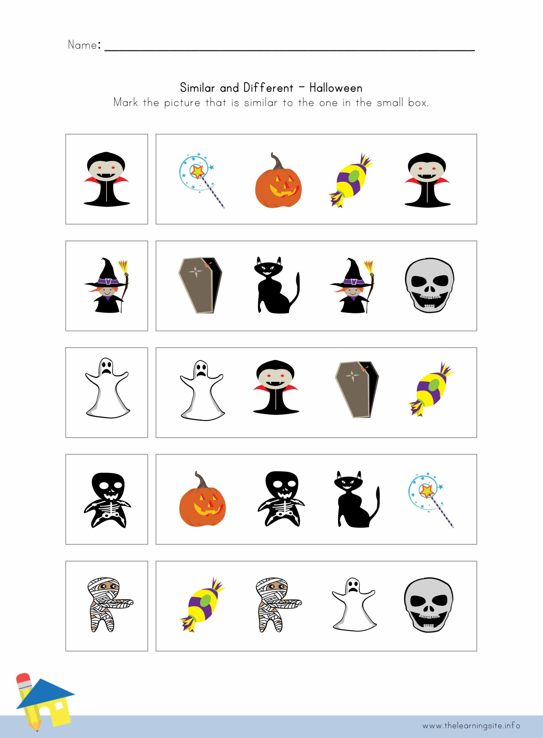 Halloween Similar And Different Worksheet 2 The Learning