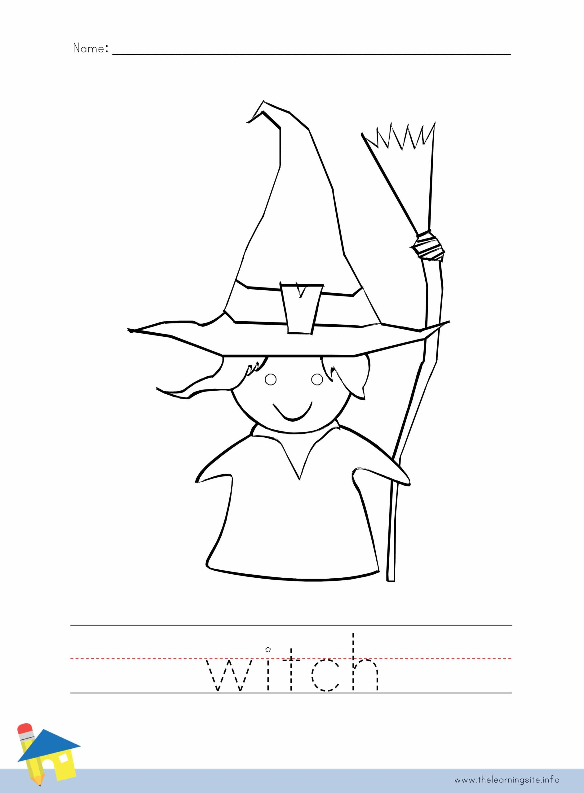 Witch Coloring Worksheet The Learning Site
