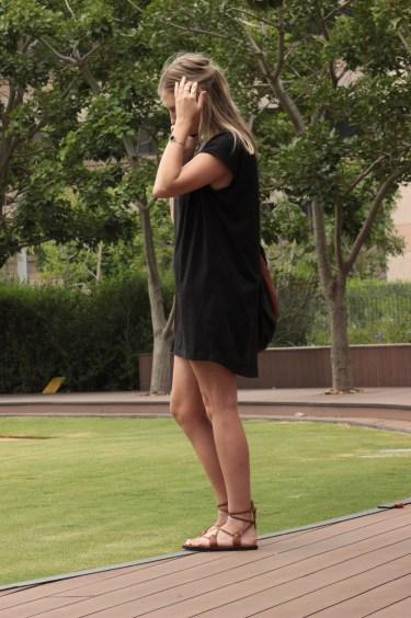 black dress, brown shoes