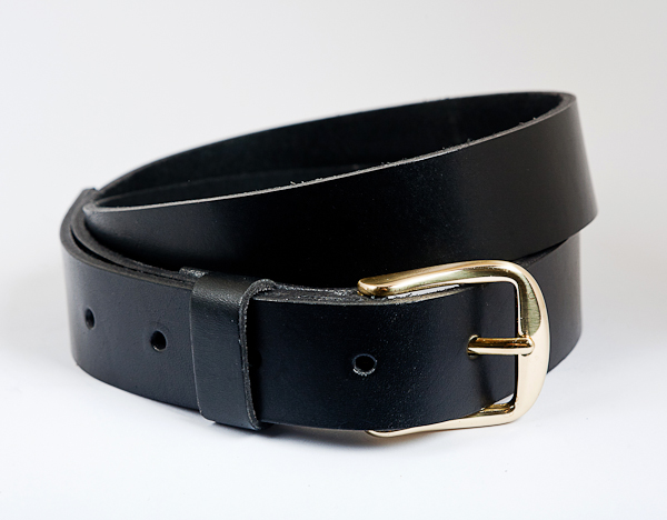 3cm Black Leather Belt with brass buckle