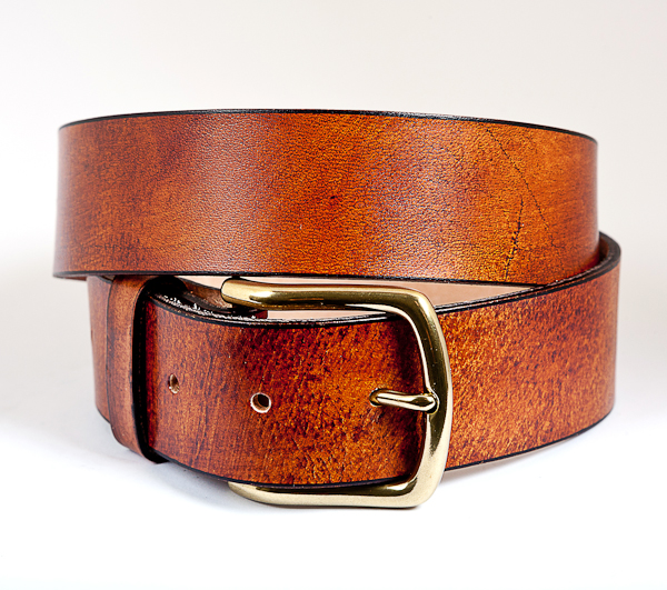 40cm Cognac Mottled Leather Brass Buckle