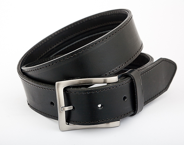 40cm Black Leather Money Belt with Nickel Plated Buckle