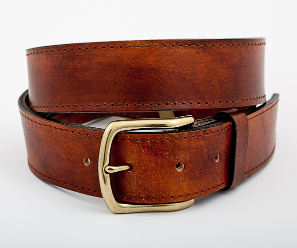 40cm Cognac Mottled Leather Money Belt with Brass Buckle