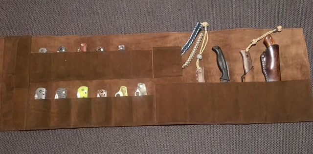 Hand-made leather Knife Roll