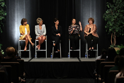 Collins Tuohy, adoptive sister of Baltimore Ravens offensive tackle Michael Oher, addresses the Inspiring Women audience. Joining Tuohy are, from left, Bonnie Kelly and Teresa Walsh, cofounders of Silpada Designs; Mayor Peggy Dunn  of Leawood; and Sue Mitchell, Oher's tutor.