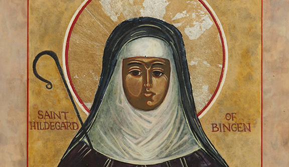 St. Hildegard of Bingen is depicted in an icon by Augustinian Father Richard G. Cannuli. Pope Benedict XVI signed a decree May 10 that formalized her Sept. 17 feast and added her name to the church's catalogue of saints. The German Benedictine mystic, although venerated for centuries, had never been officially canonized. (CNS photo/courtesy of Father Richard Cannuli) (May 11, 2012) See POPE-SAINTS May 10, 2012.