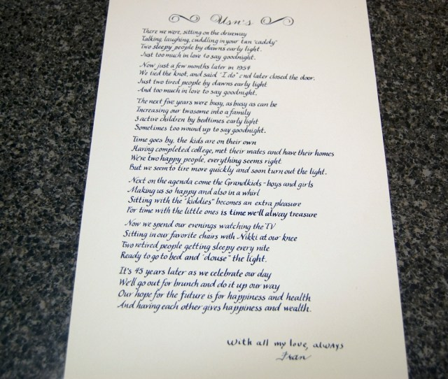 Th Wedding Anniversary I Thought It Was Just Too Sweet We Chose A Blue Ink Using An Easy To Read Italic Font Simple To Not Detract From The Meaning
