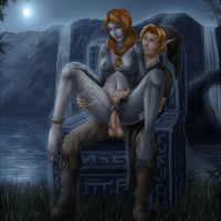 A cute image of Fasten banging his companion in the twilight princess game Midna in her human shape while he is sitting on a tabouret of the Midna's world