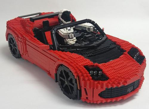 Lego Tesla Roadster in Space