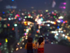 Night time view of the city from Bitexco Tower Skydeck