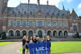 LUC students in front of the UN Peace Palace
