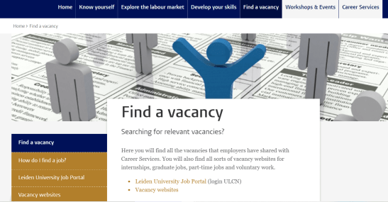 The page for Career Services