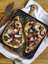 Naan pizza bread with beetroot