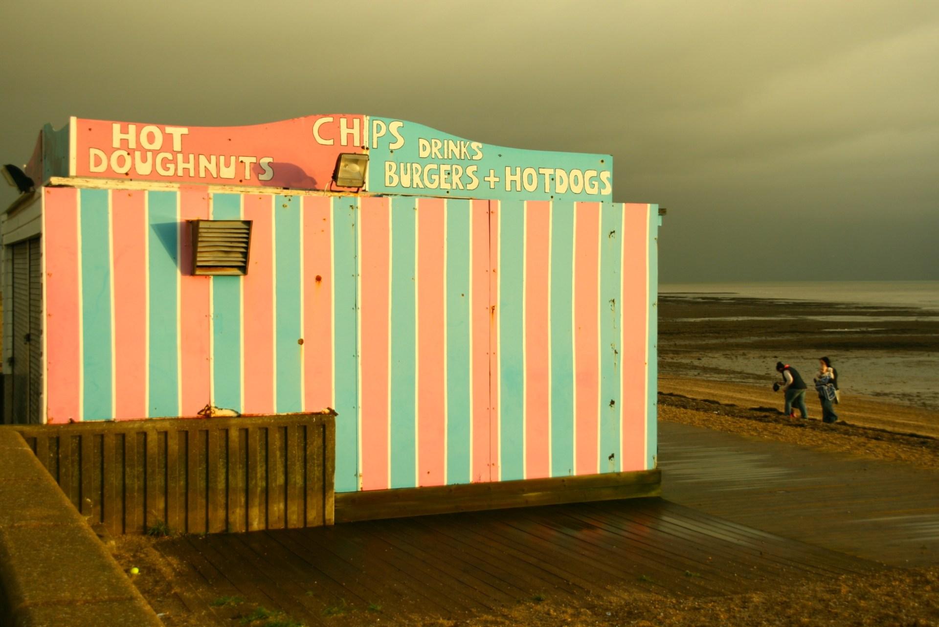 Street food kiosks on Southend beach in Essex
