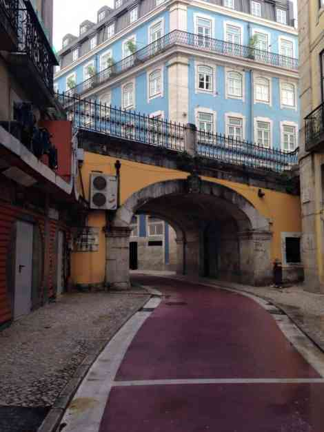 Lisbon's 'Pink Street', colourful, but quiet in the day, busy at night!