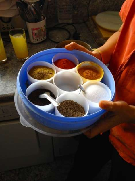 A typical Indian spice tray