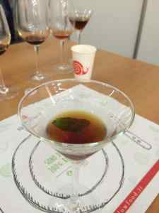 Neat vermouth with a garnish of mint
