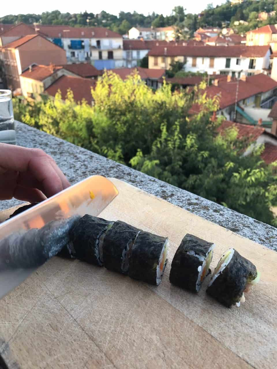 CBD Sushi on the chopping board