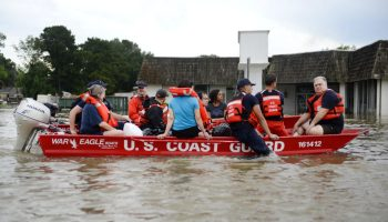 Coast guard rescuing people in Baton Rouge flooding