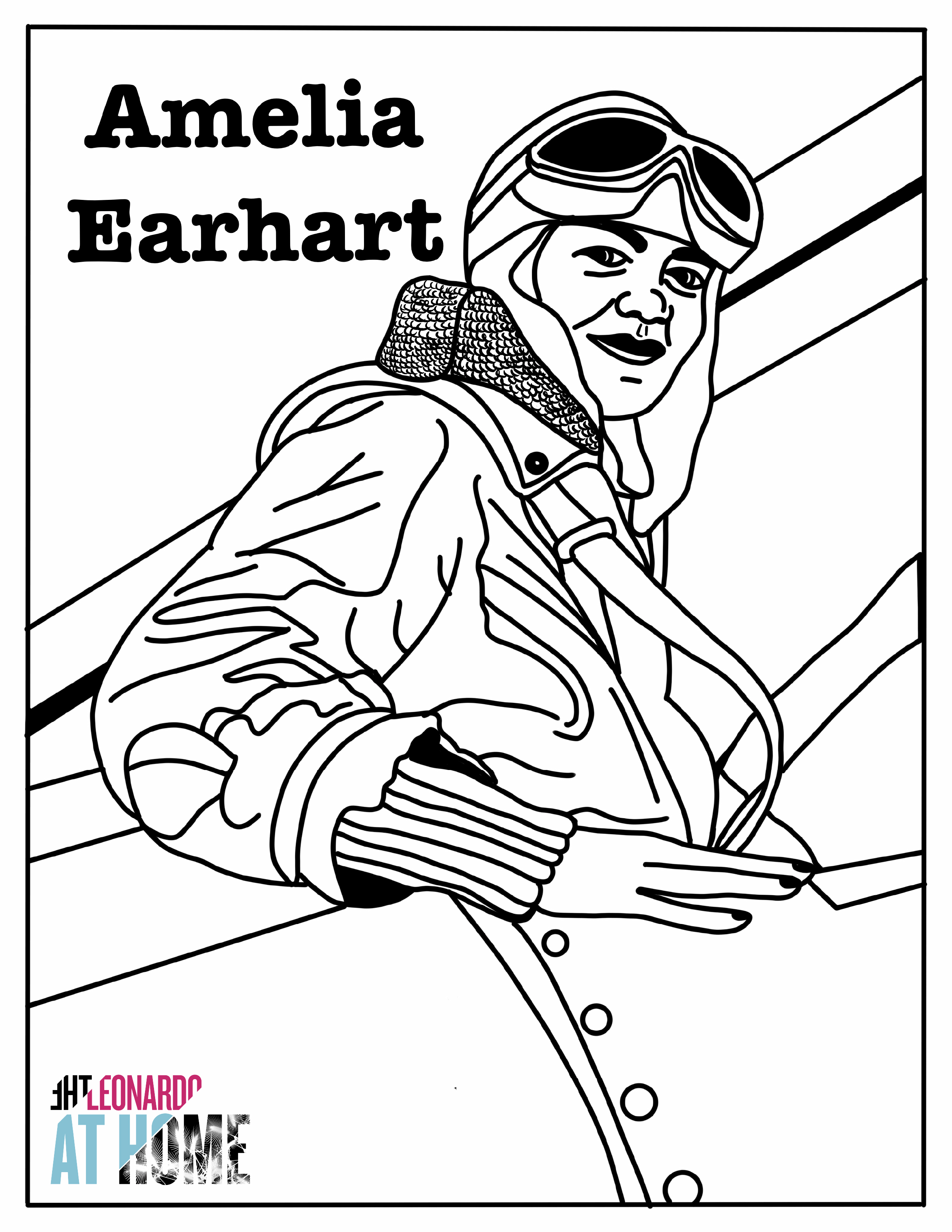 Create Connect Amelia Earhart Coloring Page