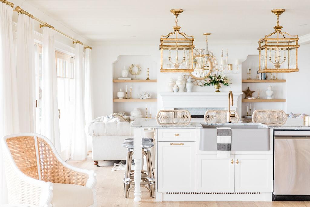 blanco grey farmhouse sink brass faucet