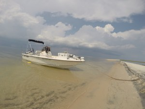 The boat on a private beach at Dauphin Island.