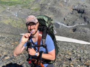 Dr Kyle Howell hiking in the Chugach mountains above Anchorage, Alaska