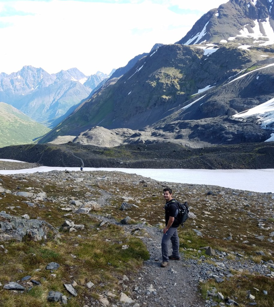 Matt Dental Health Educator at The Libby Group hiking Crow Pass in the Chugach Mountains above Anchorage