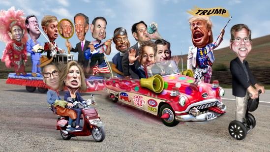 GOP Republican Clown Cart presidential election Republican primary