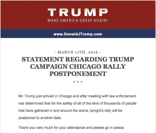 Release from Donald Trump's campaign.