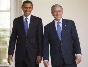 President Barack Obama, George W Bush